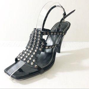 Linea Paolo Black studded gladiator heels 8.5